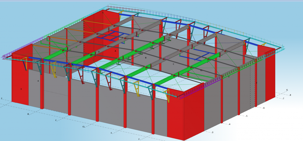 תכנון שלד של אולם ספורט
